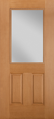 Belleville Fir Textured 2 Panel Door Half Lite with Clear Glass Exterior Fibreglass Door
