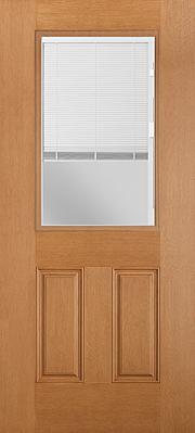 Belleville Fir Textured 2 Panel Door Raise and Lower-Tilt White Miniblind with Clear Glass Door