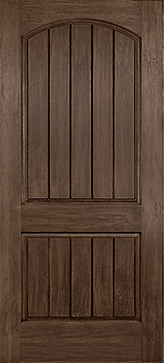 Rustic Hardwood Patina Caming with Wrought Iron Frame Fibreglass Door