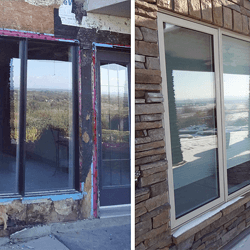 Before and after of exterior door and replacement window on home.